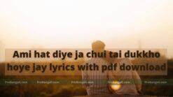 Ami hat diye ja chui tai dukkho hoye jay lyrics with pdf download